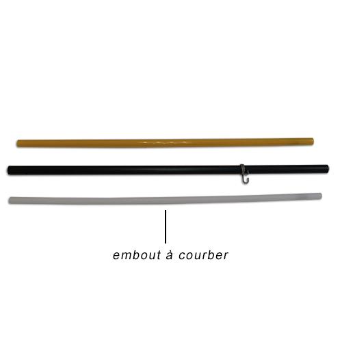 Mât polycarbonate avec embout à courber à la main pour voile plume